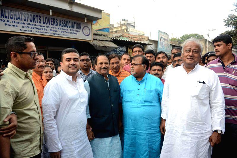 Trinamool Congress leaders Suvendu Adhikari, Subrata Mukherjee, Partha Chatterjee, Sougata Roy and others after meeting party supremo and West Bengal Chief Minister Mamata Banerjee regarding - Subrata Mukherjee, Partha Chatterjee and Sougata Roy