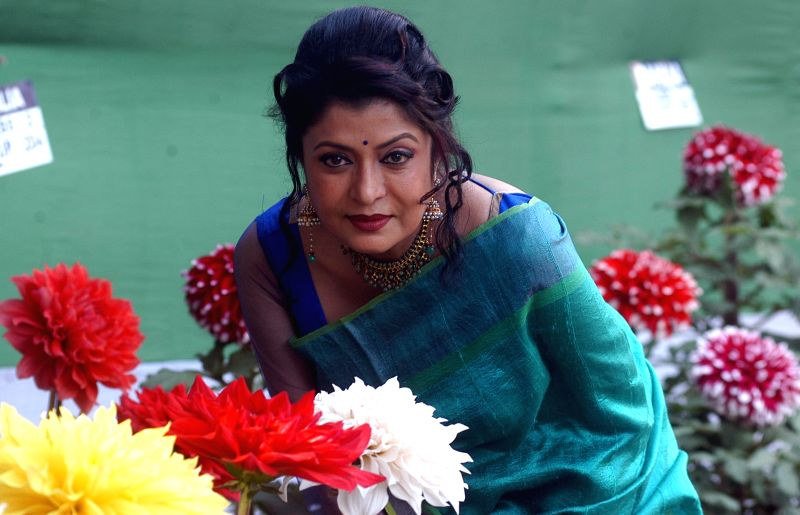 Trinamool Congress (TMC) leader Debashree Roy during a flower show organised at West Bengal Assembly in Kolkata on Dec 23, 2014. - Debashree Roy