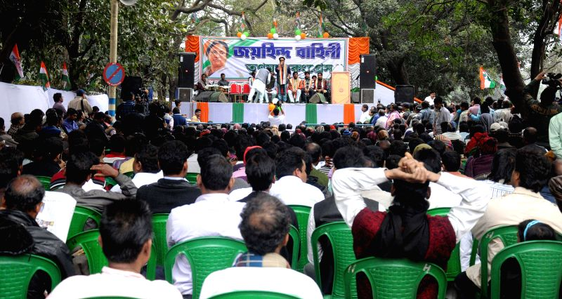 Trinamool Congress workers participate in a programme organised on party's foundation day in Kolkata, on Jan 1, 2015.