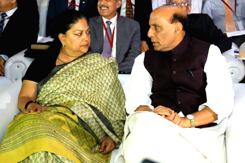 Union Home Minister Rajnath Singh and Rajasthan Chief Minister Vasundhara Raje during the `Counter Terrorism Conference 2015` in Jaipur, on March 19, 2015. - Rajnath Singh