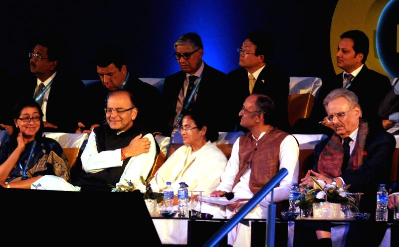 Union Minister for Finance, Corporate Affairs, and Information and Broadcasting Arun Jaitley, West Bengal Chief Minister Mamata Banerjee, West Bengal Finance and Industry ​M​inister Amit - Mamata Banerjee and Arun Jaitley