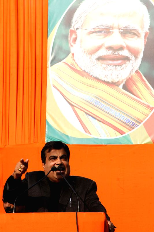 Union Minister for Road Transport and Highways, and Shipping, Nitin Gadkari addresses during `Modir Opoman Bharater Opoman` - a protest rally against West Bengal Government in Kolkata on Dec