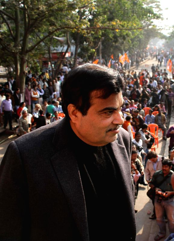 Union Minister for Road Transport and Highways, and Shipping, Nitin Gadkari participate in `Modir Opoman Bharater Opoman` - a protest rally against West Bengal Government in Kolkata on Dec ..