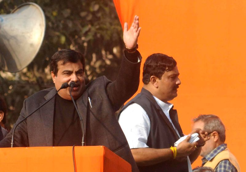 Union Minister for Road Transport and Highways, and Shipping, Nitin Gadkari addresses during `Modir Opoman Bharater Opoman` - a protest rally against West Bengal Government in Kolkata on Dec - Rahul Sinha