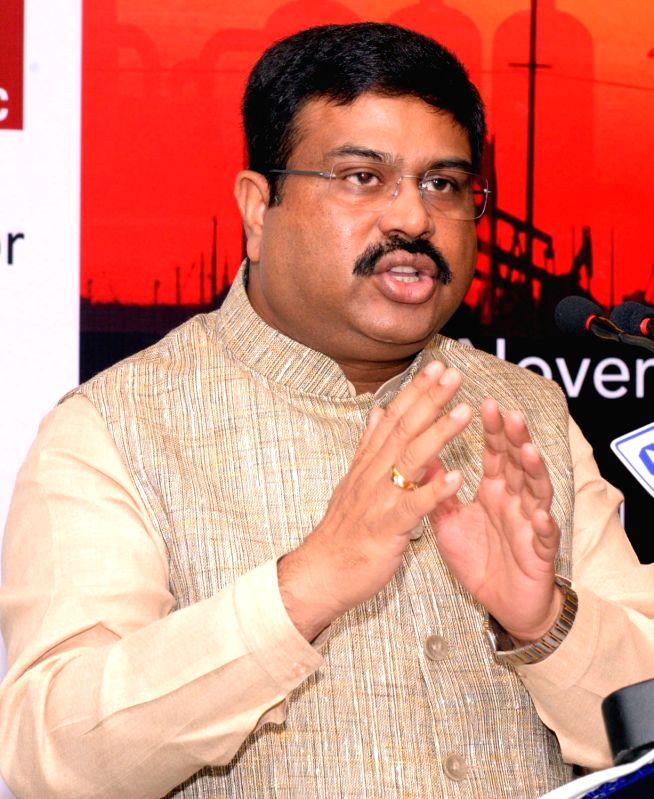 :Kolkata: Union MoS for petroleum and natural gas Dharmendra Pradhan during a CII programme on Oil and Gas in Kolkata, on Nov 14, 2015. (Photo: IANS).