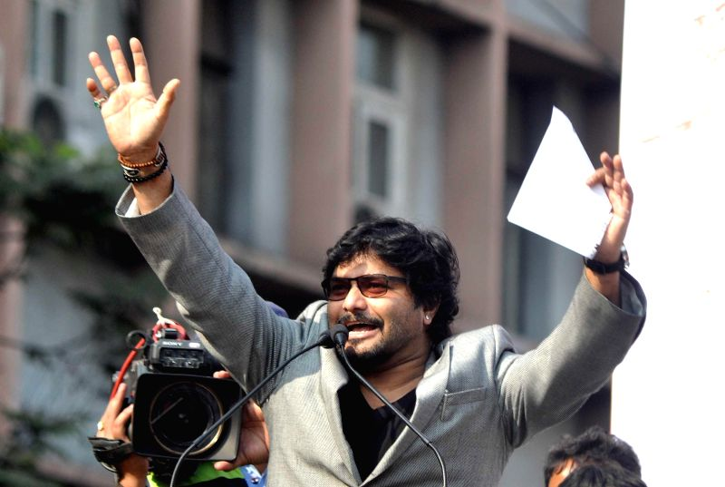 Union MoS for Urban Development, and Housing and Urban Poverty Alleviation Babul Supriyo addresses during a BJP rally in Kolkata, on Nov 30, 2014.