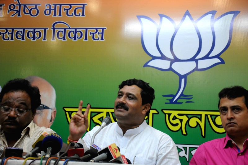 West Bengal BJP chief Rahul Sinha addresses during a press meet in Kolkata, on March 24, 2015.