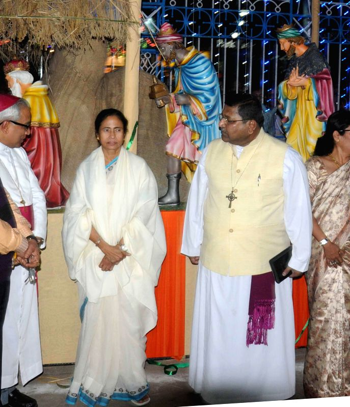 West Bengal Chief Minister Mamata Banerjee during the 4th Kolkata Christmas Festival in Kolkata, on Dec 16, 2014. - Mamata Banerjee