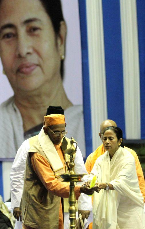 West Bengal Chief Minister Mamata Banerjee during Vivek Chetna Utsav ahead of 152 Birth anniversary of Swami Vivekananda in Kolkata, on Jan 10, 2015.