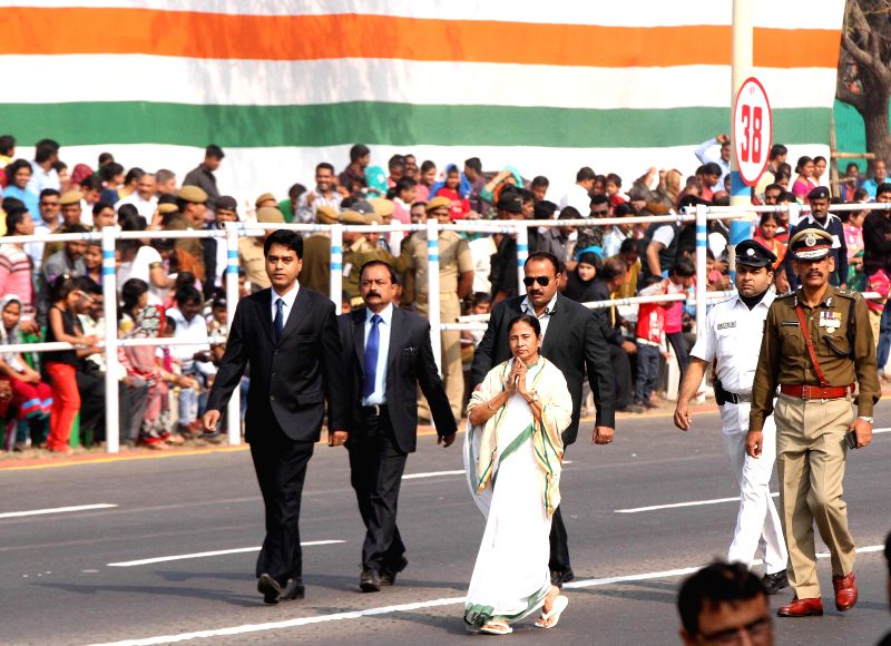 West Bengal Chief Minister Mamata Banerjee arrives at the venue of Republic Day celebrations on Red Road in in Kolkata on Jan 26, 2015. - Mamata Banerjee
