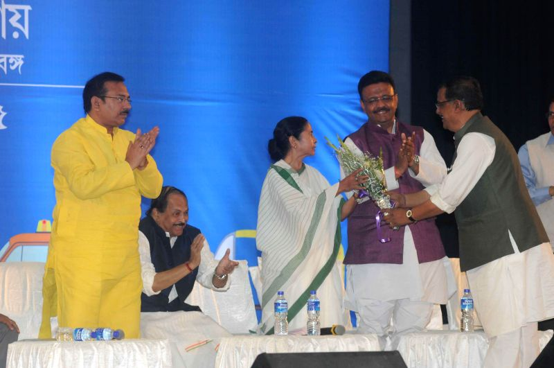 West Bengal Chief Minister Mamata Banerjee, West Bengal Ministers Subrata Mukherjee, Firhad Hakim, Arup Biswas, Malay Ghatak and others during a meeting at Nazrul Manch in Kolkata on Feb, ... - Mamata Banerjee, Subrata Mukherjee, Firhad Hakim, Arup Biswas and Malay Ghatak