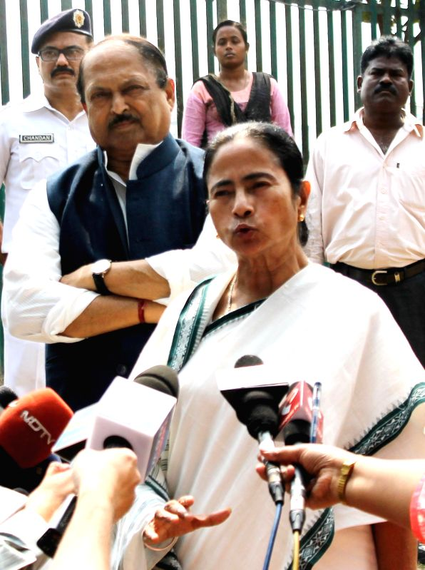 West Bengal Chief Minister Mamata Banerjee with West Bengal Public Health Engineering minister Subrata Mukherjee during a press meet regarding TMC victory in the by-election at West Bengal .. - Mamata Banerjee and Subrata Mukherjee