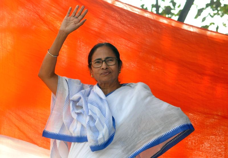 West Bengal Chief Minister Mamata Banerjee during a sit-in (dharna) demonstration over the CBI's attempt to question Kolkata Police Commissioner Rajeev Kumar in connection with a ponzi scheme scam, near the Metro Channel in Kolkata