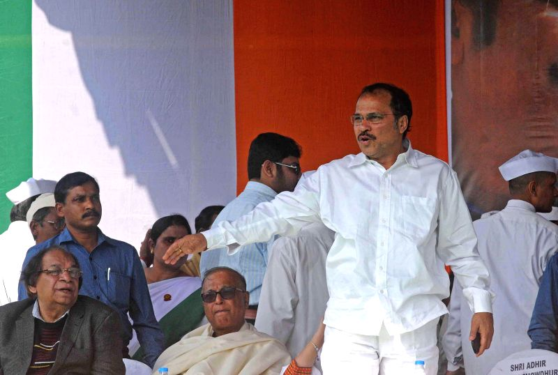 West Bengal Congress chief Adhir Ranjan Chowdhury during a rally organised to protest against the multi-crore-rupee Saradha chit fund scam and host of other issues in Kolkata, on Jan 20, ...