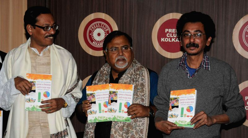 West Bengal Education Minister Partha Chatterjee at the launch of `Punoscho` - a book on forthcoming assembly elections at Press Club in Kolkata, on Jan 19, 2015.