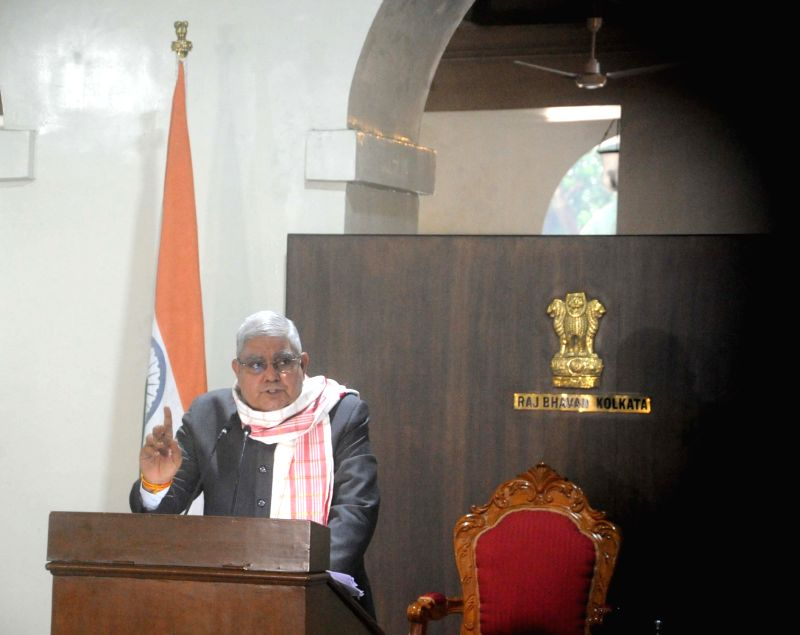 Kolkata: West Bengal Governor Jagdeep Dhankhar addresses a press meet at Raj Bhavan in Kolkata on Sep 28, 2020. (Photo: IANS)