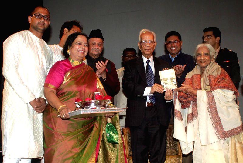 West Bengal Governor Keshari Nath Tripathi  and Indian classical singer Girija Devi at the launch of `Girija` - an album at ICCR in Kolkata, on Dec 20, 2014. - Keshari Nath Tripathi