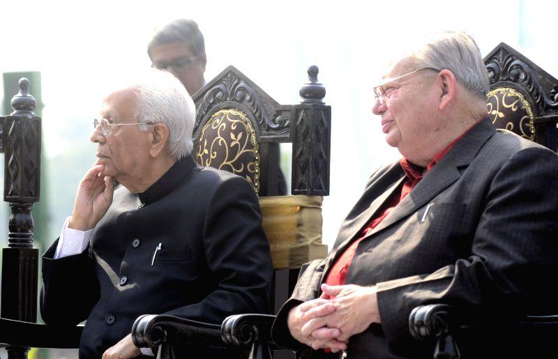 West Bengal Governor Keshari Nath Tripathi with author Ruskin Bond during inauguration of `Kolkata Literary Meet` at Victoria Memorial Hall in Kolkata on Jan 23, 2015. - Keshari Nath Tripathi