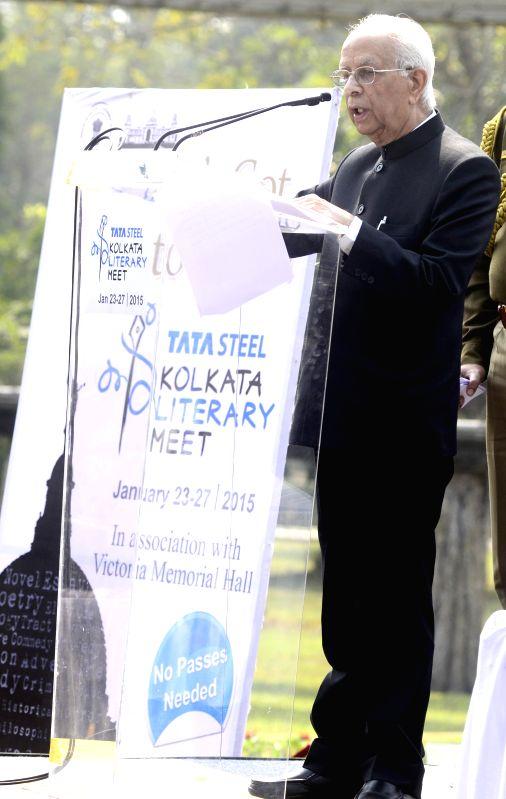 West Bengal Governor Keshari Nath Tripathi addresses at the inauguration of `Kolkata Literary Meet` at Victoria Memorial Hall in Kolkata on Jan 23, 2015. - Keshari Nath Tripathi