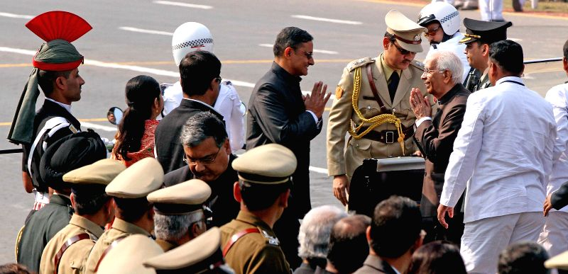 West Bengal Governor Keshari Nath Tripathi arrives at the venue of Republic Day celebrations on Red Road in in Kolkata on Jan 26, 2015. - Keshari Nath Tripathi