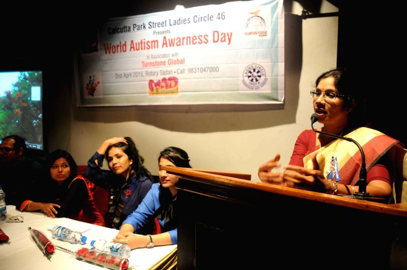 West Bengal Women and Child Welfare Minster Shashi Panja addresses during a seminar organised on  World Autism Awareness Day in Kolkata, on April 2, 2015.
