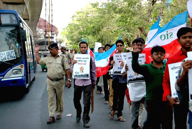 Youths preparing for SSC exams stage a demonstration against West Bengal Government in Kolkata, on March 30, 2015.