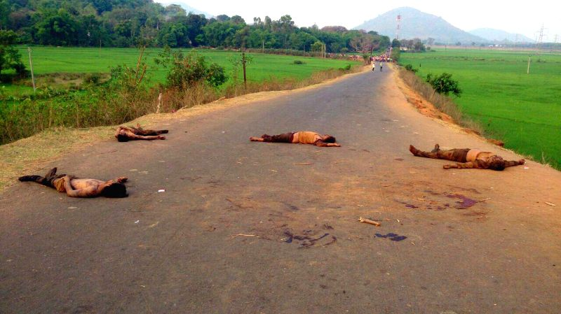 Four bodies lay on Jeypore-Koraput road on April 9, 2015. Reportedly the quartet was allegedly attacked on suspicion of being members of a child abduction group.