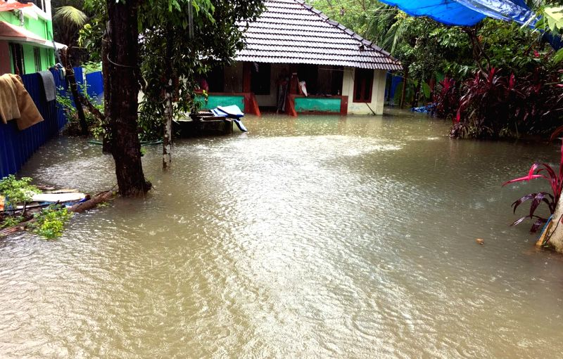 Kottayam : A view of a flooded house at Kottayam of Kerala after heavy rains lashed the city,on July 19, 2019.