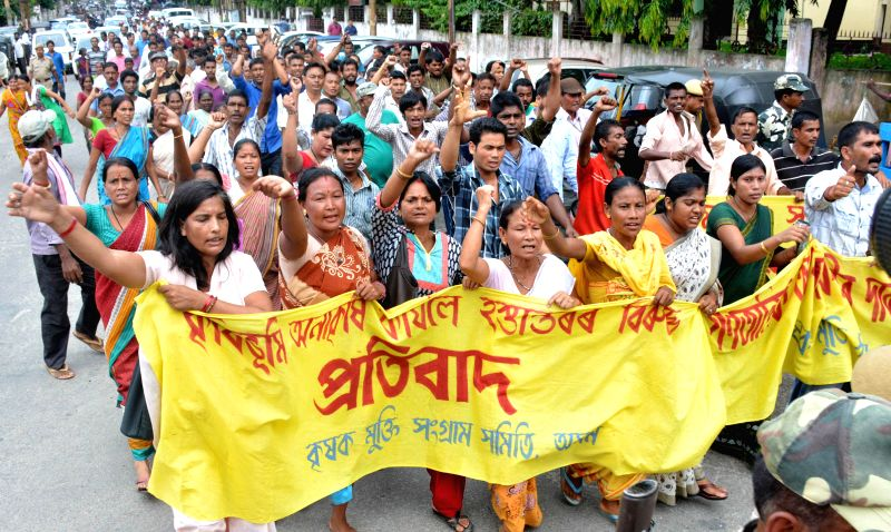Krishak Mukti Sangram Samiti  (KMMS) activists demonstrate against Assam Govternment's revenue department for allegedly transferring  agricultural land  for non-agricultural purposes in Guwahati on ..
