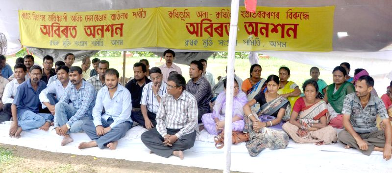 Krishak Mukti Sangram Samiti (KMMS) President Akhil Gogoi and others during a hunger strike to press for their demands in Guwahati on July 30, 2014.