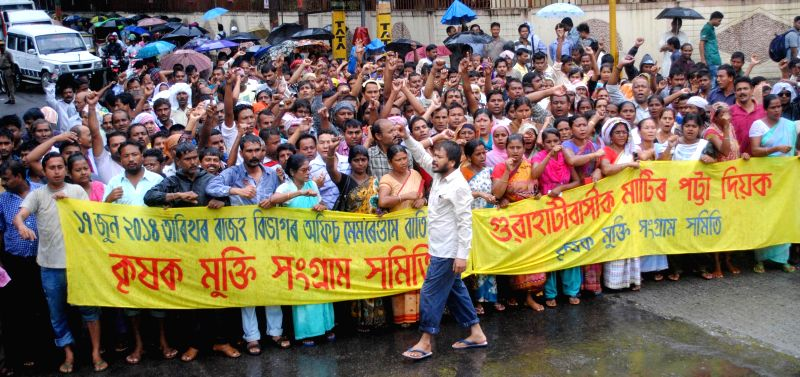 Krishak Mukti Sangram Samiti (KMSS) activists led by their chief Akhil Gogoi demonstrate against various issues in Guwahati on July 8, 2014.