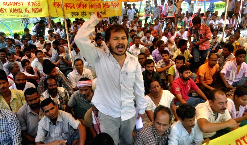 Krishak Mukti Sangram Samiti (KMSS) president Akhil Gogoi demonstrates against recent BTAD violence, in Guwahati on May 14, 2014.