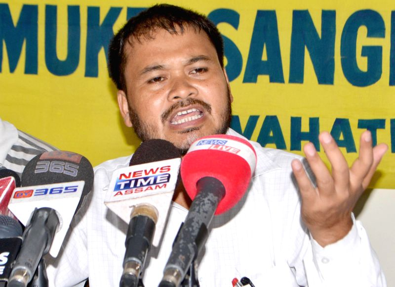 Krishak Mukti Sangram Samiti (KMSS) president Akhil Gogoi addresses a press conference in Guwahati on July 18, 2014.