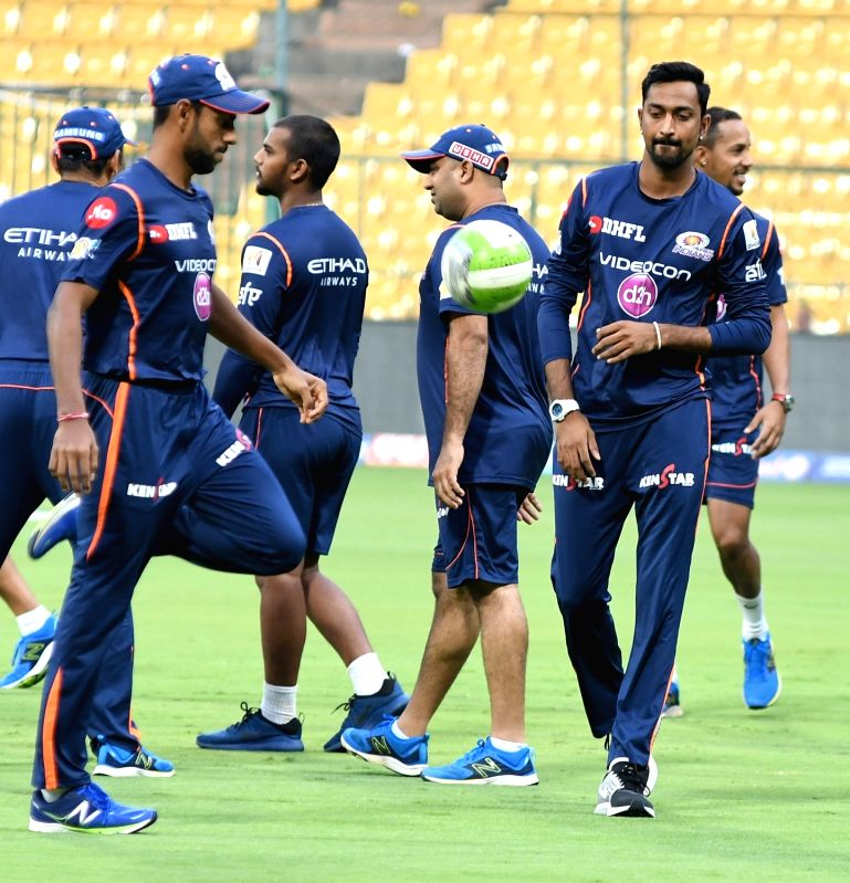 Krunal Pandya of Mumbai Indians during a practice session at Chinnaswamy Stadium in Bengaluru on May 18, 2017.