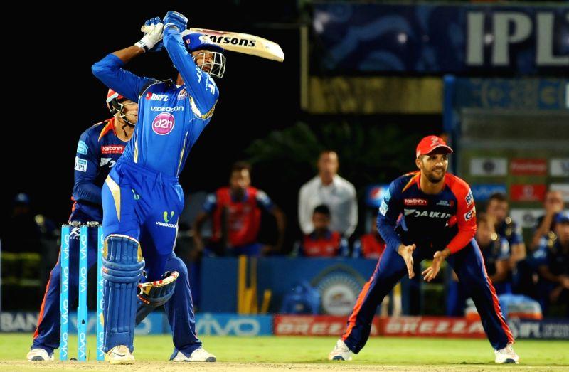 Krunal Pandya of Mumbai Indians in action during an IPL match between Mumbai Indians and Delhi Daredevils at Dr YS Rajasekhara Reddy ACA-VDCA Cricket Stadium in Visakhapatnam on May ... - Rajasekhara Reddy A