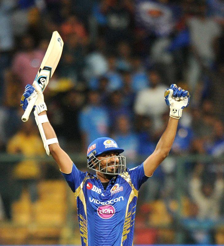 Krunal Pandya of Mumbai Indians reacts after winning the Qualifier 2 of IPL 2017 between Mumbai Indians and Kolkata Knight Riders at M Chinnaswamy Stadium in Bengaluru on May 19, 2017.