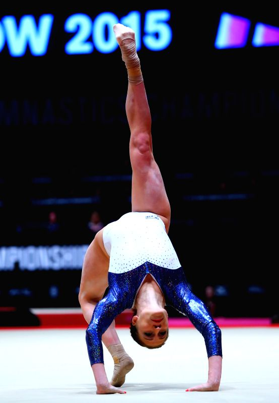 Kseniia Afanaseva of Russia competes during the women's floor exercise final at the 46th World Artistic Gymnastics Championships in Glasgow, Britain, Nov. 1, 2015. ...