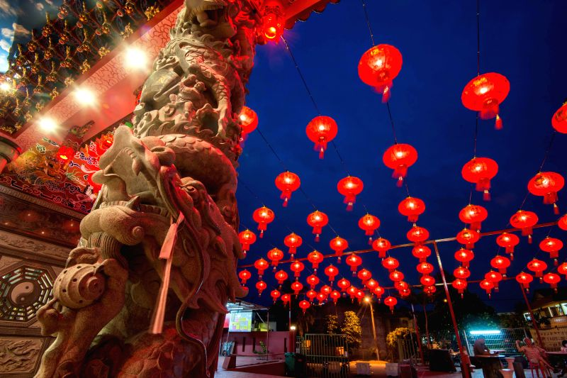Red lanterns for the upcoming Chinese Spring festival are seen outside a temple in Cheras, State of Selangor, Malaysia, Feb. 3, 2015. (Xinhua/Chong Voon ...