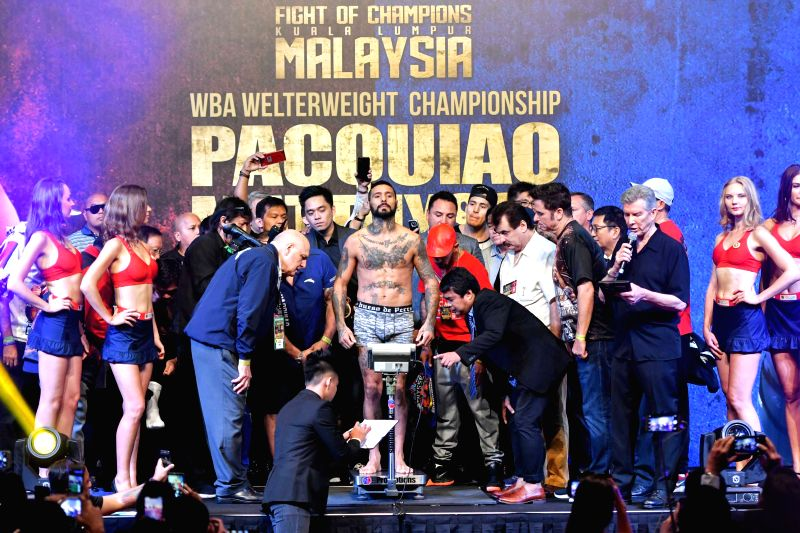 KUALA LUMPUR, July 14, 2018 - Lucas Matthysse, the Argentinean World Boxing Association (WBA) welterweight champion, weighs in Kuala Lumpur, Malaysia, July 14, 2018. The highly anticipated fight ...