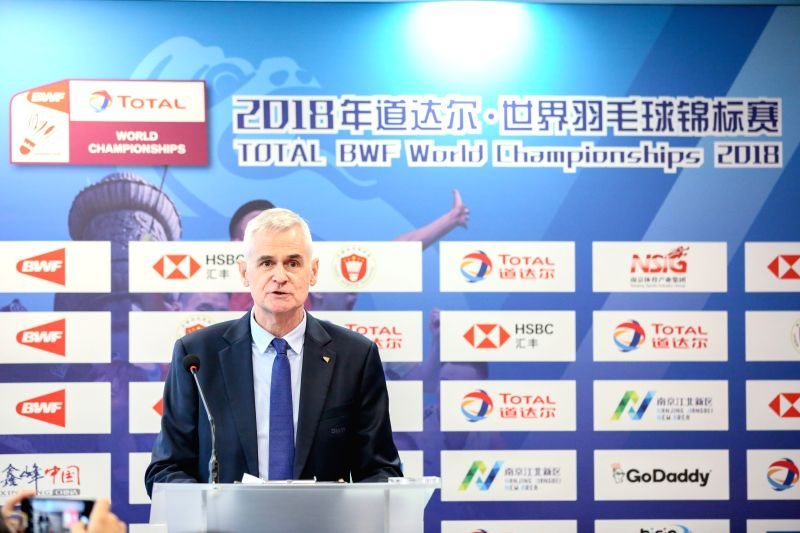 KUALA LUMPUR, July 17, 2018 - Stuart Borrie, Chief Operating Officer of Badminton World Federation, addresses the Total BWF World Championship 2018 Draw Ceremony in Kuala Lumpur, Malaysia, July 17, ...