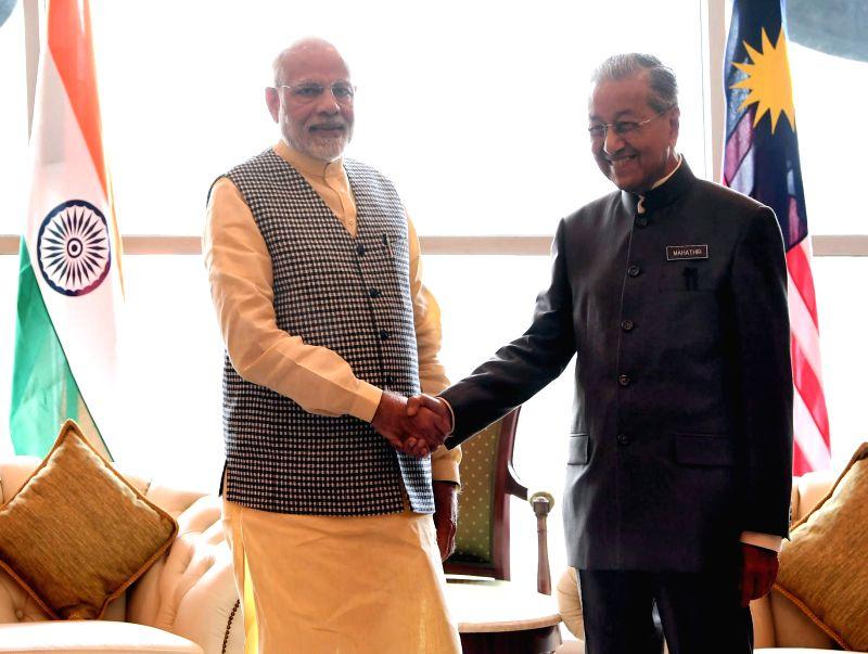 Malaysian Prime Minister Mahathir Mohamad and Prime Minister Narendra Modi