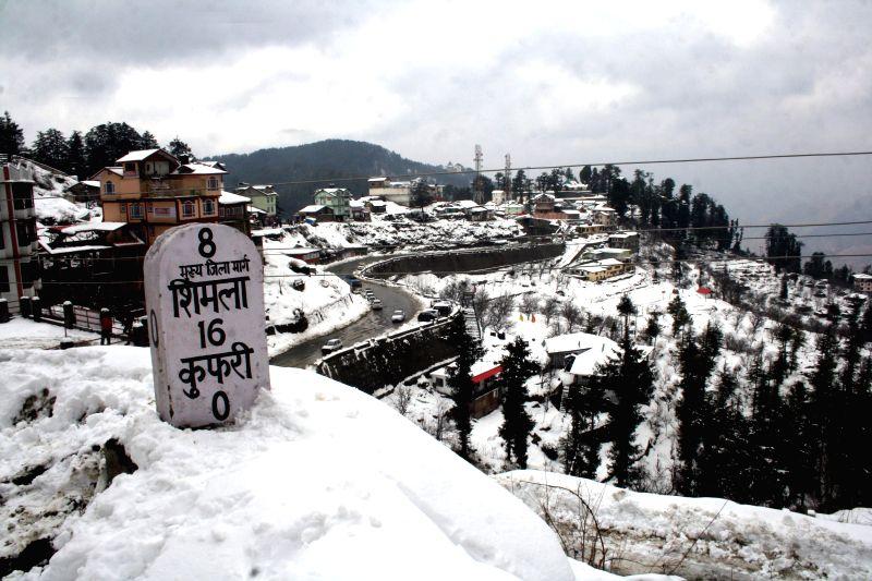 Kufri: A view of Kufri near Shimla after heavy snowfall on Feb. 3 ...