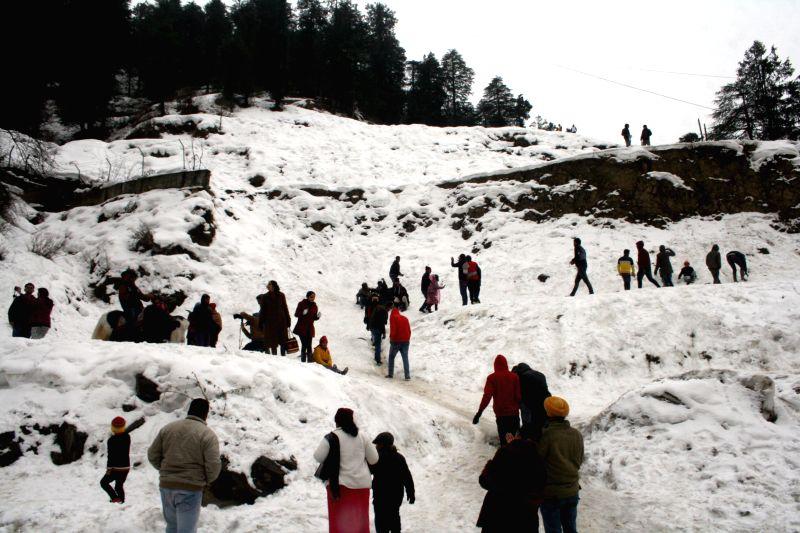 Tourists enjoy themselves as Kufri, a hill station near Shimla receives fresh snowfall on Jan 22, 2015.