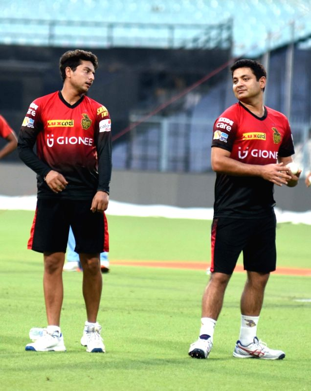 Kuldeep Yadav and Piyush Chawla of Kolkata Knight Riders during practice session for IPL at Eden Gardens in Kolkata on May 2, 2017. - Kuldeep Yadav