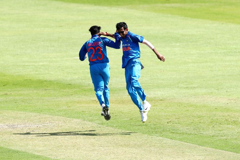 Kuldeep Yadav and Yuzvendra Chahal of India celebrates fall of JP Duminy's wicket during the 1st ODI match between India and South Africa at Kingsmead Cricket Ground in Durban, South Africa ... - Kuldeep Yadav