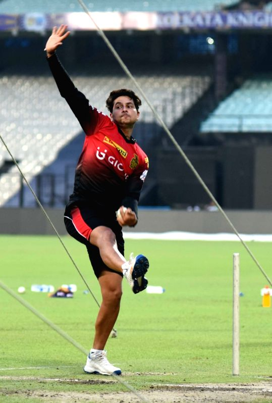 Kuldeep Yadav of Kolkata Knight Riders during practice session for IPL at Eden Gardens in Kolkata on May 2, 2017. - Kuldeep Yadav