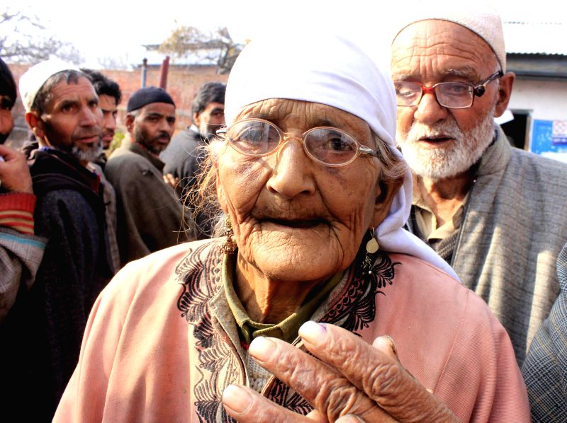A 95-year old lady arrives at a polling booth in Damhal Hanjipora village to cast her vote during the second phase of Jammu and Kashmir polls, in Noorabad, Kulgam district on Dec 2, 2014.