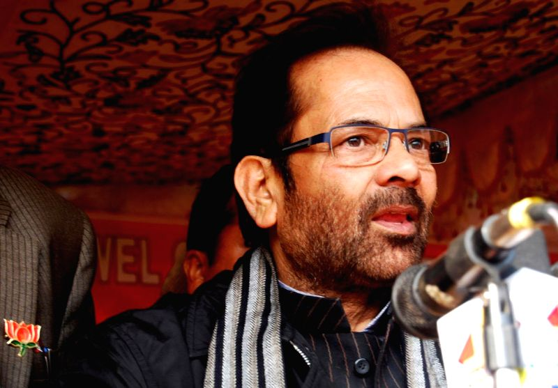 Union MoS for Minority Affairs and Parliamentary Affairs Mukhtar Abbas Naqvi addresses during a rally ahead of assembly elections in Kulgam on Nov 30, 2014.