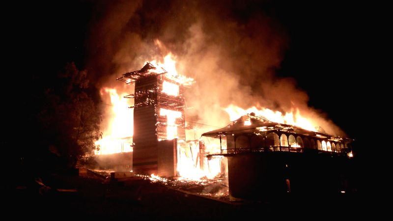 New Delhi: A blaze breaks out at the Sangchul Mahadev - a historical temple, in Kullu on April 8, 2015.