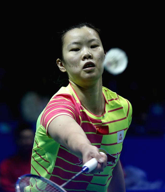 KUNSHAN, May 15, 2016 - China's Li Xuerui hits a return to Malaysia's Jing Yi Tee during their singles match of Group A at the Uber Cup Badminton Championship in Kunshan, east China's Jiangsu ...